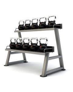 JORDAN Set de 10 Kettlebells de Goma (4-28 Kg) + Rack