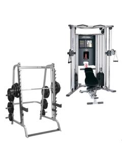 Pack Musculacion: Multipower, Doble Polea, Banco Ajustable, Barras y Discos (Musculación)